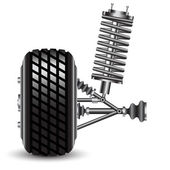 Front car suspension, frontal view. — Stock Photo