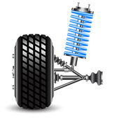 Car suspension, frontal view. — Stock Photo