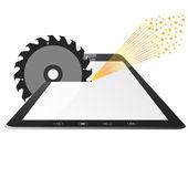 Tablette ordinateur pc une scies circulaires de scies — Photo