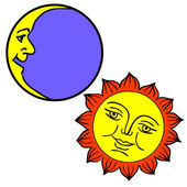 Vector illustration of Moon and Sun with faces — Stok fotoğraf