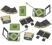 Set computer processor, memory cards and computer ñonnector — Stock Photo