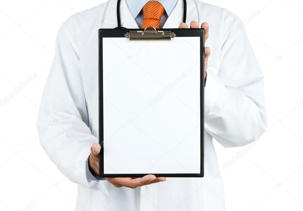 Doctor holding blank clipboard with copy space isolated on white background — Stok fotoğraf #11307498