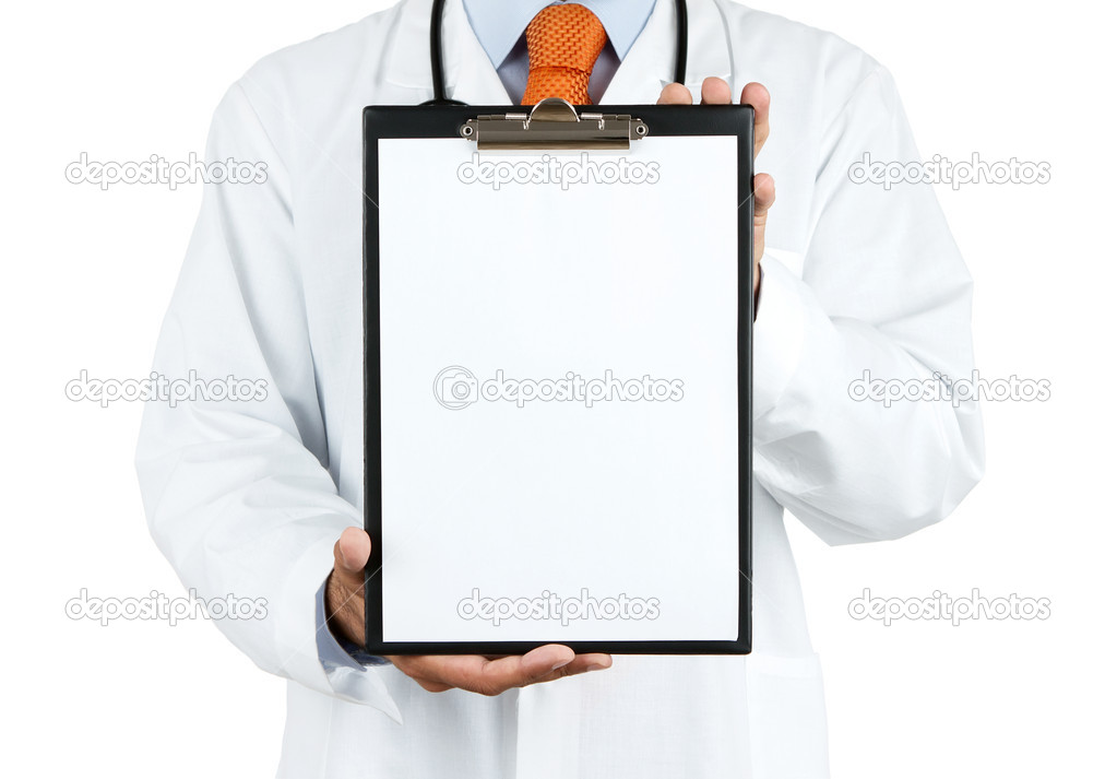 Doctor holding blank clipboard with copy space isolated on white background — Photo #11307498