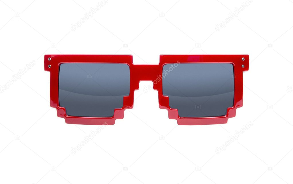 Red pixelated nerd sunglasses isolated on white background — Stok fotoğraf #11392093