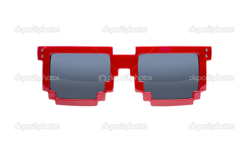 Red pixelated nerd sunglasses isolated on white background  Foto Stock #11392093
