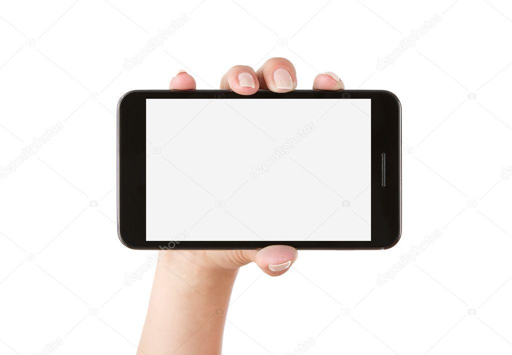 手拿空白智能手机 — 图库照片08rangizzz
