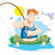 Stock Vector: Fisherman