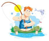 Fisherman — Stock Vector