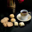 Oriental cookies and cup of tea — Stock Photo