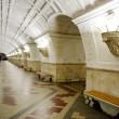 Постер, плакат: Train at old metro station Belorusskaya in Moscow