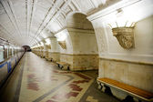 Train at old metro station Belorusskaya in Moscow — Stock Photo