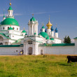 Royalty-Free Stock Photo: Cow goes past the Spaso-Yakovlevsky Monastery in Rostov