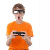 Child playing 3d video game — Stock Photo