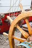 Steering wheel of an ancient sailing vessel — Stock Photo