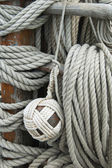 Rigging of an ancient sailing vessel — Stock Photo