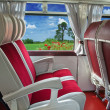 Stock Photo: Interior of old tourist bus