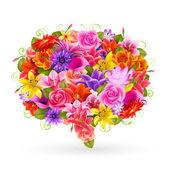 Bulle de vente l'été, fleurs colorées. — Vecteur