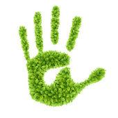 Green leaves hand. — Stock Vector