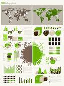 Infografica verde energia ed ecologia — Vettoriale Stock