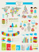 Volver a la escuela infografía conjunto — Vector de stock