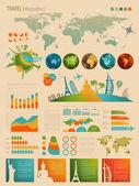 Infografía conjunto con cartas de viaje — Vector de stock
