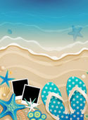 Summer background with shells — Vector de stock