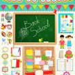Stock Vector: Back to school scrapbook elements.