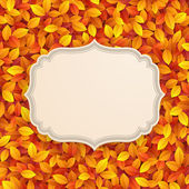 Vintage card on autumn leaves texture. — Stockvektor