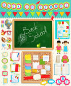 Back to school scrapbook elements. — Stock Vector