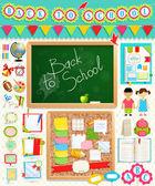 Geri okul not defterine öğeler. — Stok Vektör