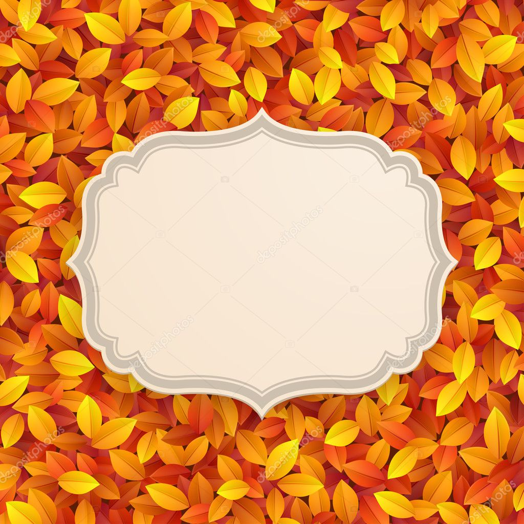 Vintage card on autumn leaves texture. Vector illustration.  Stock Vector #12190538