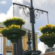 Stock Photo: Pots of flowers in town square in Gorinchem. Netherlands