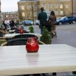 Tables evening cafe in Gorinchem. Netherlands — Stock Photo