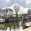 Pier and yacht in Gorinchem. Netherlands — 图库照片