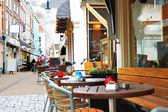 Evening street cafe in Gorinchem. Netherlands — Stock Photo