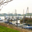 Pier and the ship in Gorinchem. Netherlands — Stock Photo
