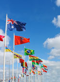 International flags on waterfront of Rotterdam. Netherlands. — Stock Photo