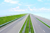 Highway on a great dam in Netherlands — Stock Photo