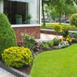 Small garden in front of the Dutch house. Netherlands - Stock Photo