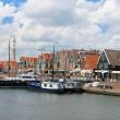 Ships in the port of Volendam. Netherlands - Stock Photo