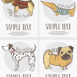 Sketch-style drawing of dogs cards set — 图库矢量图片 #11261178