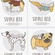 Sketch-style drawing of dogs cards set — стоковый вектор #11261178