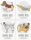 эскиз стиль рисования собак карты набор — Cтоковый вектор