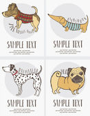 Skizze-stil zeichnung der hunde-karten-set — Stockvektor