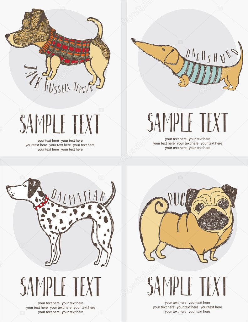 Sketch-style drawing of the dogs cards set — Stock Vector #11261178