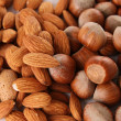 Close up on heap of almond and hazelnut — Stock Photo