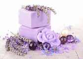 Soap and lavender flower — Stock Photo
