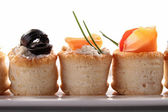 Canapes appetizer, buffet food — Foto Stock