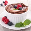 Stock Photo: Chocolate souffle with berries fruits