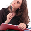 Woman with notebook - Stock Photo